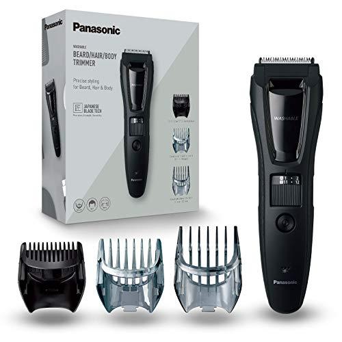 Panasonic ER-GB61-K503 Trimmer für Herren, Bart und Kopf (3 in 1, wiederaufladbar, Edelstahl, lange Akku-Laufzeit, 39 Einstellungen, 3 Zubehörteile) schwarz/silber