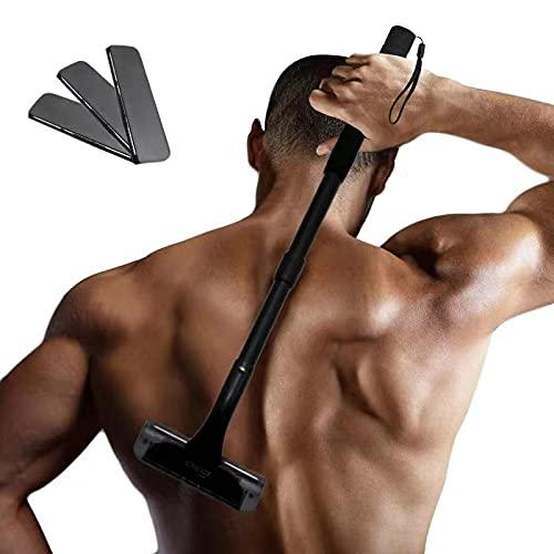 EASACE Rückenrasierer Gebogen Rasierklingen-Set für Männer, Rasierklingen-Set mit Langem Griff 54.5cm Verstellbarer, DIY Köper Rasierer Schmerzlose mit 3 Dauerhaft Ersatzklingen (Schwarz)
