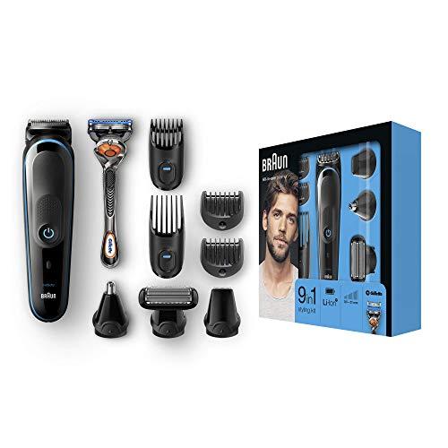 Braun 9-in-1 Multi-Grooming-Kit MGK5080, Barttrimmer und Haarschneider, Körperhaartrimmer, Ohren- und Nasenhaartrimmer, Präzisionstrimmer, mit AutoSense-Technologie, Schwarz