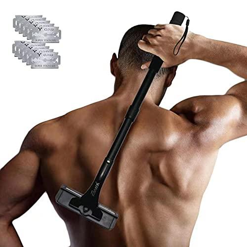 EASACE Rückenrasierer Rückenhaarentferner, Gebogen Rückenrasierer mit Langem Griff 54.5cm Verstellbarer, DIY Rasierklingen-Set Schmerzfreie mit 10 Refills Universal Rasierer Zweischneidig (Schwarz)