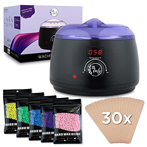 21daily - Premium Waxing Set - Wachswärmer inklusive Wachsperlen 5x100g - Wachs Haarentfernung einfach, schnell & schmerzlos