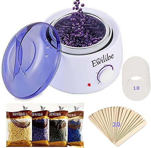 Ewilibe Wachs Haarentfernung Waxing Set Wax Warmer Wachsgerät Wachswärmer Wachserhitzer für Körper Beine Gesicht, KonstanteTemperatur,500ml,4*100g Wachsbohnen,20 Holzspateln,10 Antifouling-Papierkreis