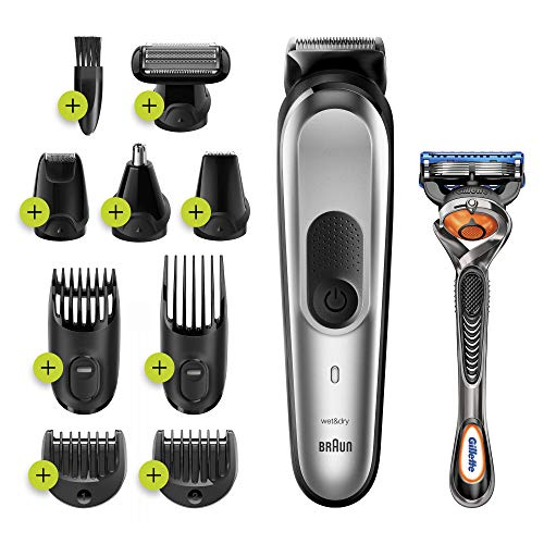 Braun 10-in-1-Trimmer MGK7220 Herren-Barttrimmer, Bodygrooming-Set und Haarschneider, grau/silber