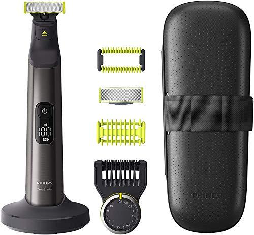 Philips OneBlade Pro Face + Body QP6650/30 2 Klingen, Präzisionskamm 14 Längeneinstellungen, Hautschutzaufsatz und Trimmaufsatz, Trimmen, Stylen und Rasieren jeder Haarlänge inkl. Standfuß & Reiseetui