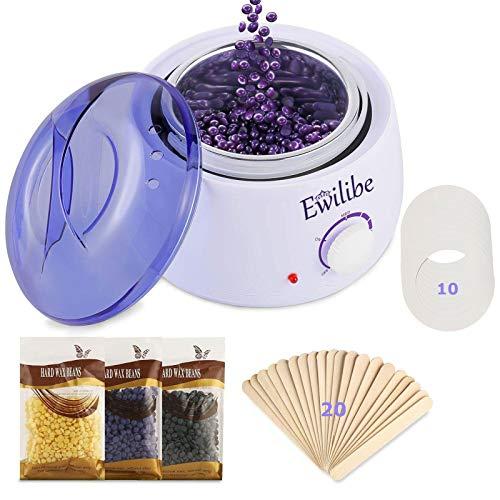 Ewilibe Haarentfernung Wax Warmer Wachswärmer Wax Heater Waxing Set Wachsgerät Wachsschmelzen in 10 min, Konstante Temperatur 80℃- 110℃,500ml,3 Wachsbohnen,20 Holzspateln,10 Papierkreise