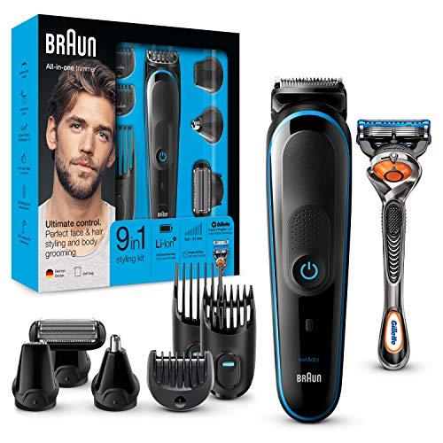 Braun 9-in-1 Multi-Grooming-Kit MGK5080, Barttrimmer und Haarschneider, Körperhaartrimmer, Ohren- und Nasenhaartrimmer, Präzisionstrimmer, mit AutoSense-Technologie, schwarz/blau