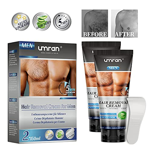 Enthaarungscreme für Männer Frauen 2 X 150ML, Haarentfernungscreme, Aloe Hair Removal Cream Feuchtigkeitsspendend, Schmerzfreie/Einfache Haarentfernung für Mehrere Körperteile mit Spatel MEHRWEG